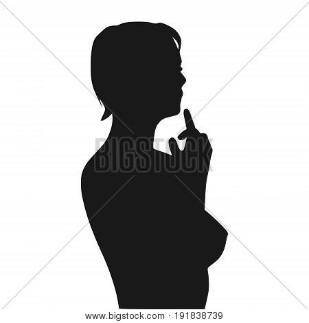 Confused woman raising her hand to face. Sexy lady silhouette. Fashion mannequin. Short hair. Vector Illustration.