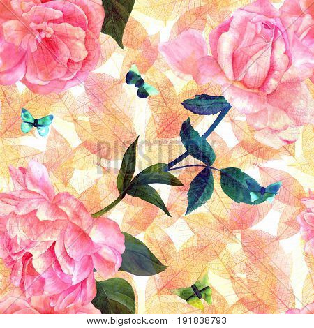 Seamless pattern with watercolor drawings of blooming pink roses, camellias, peonies, and butterflies, hand painted on a golden yellow background with autumn leaves in style of vintage botanical art