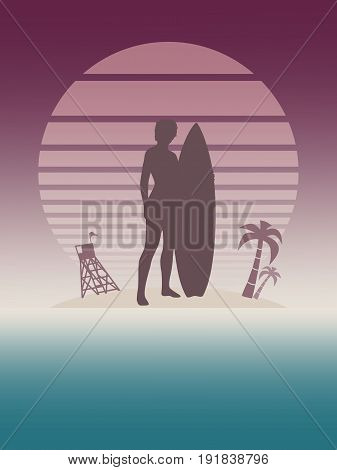 Woman posing with surfboard. Vector illustration. Vintage Surfing Graphic and Emblem for web design or print. Lifeguard tower and palm tree