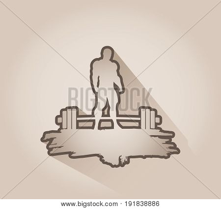 Bodybuilding and barbell outline silhouettes. Bodybuilder posing on grunge brush stroke.