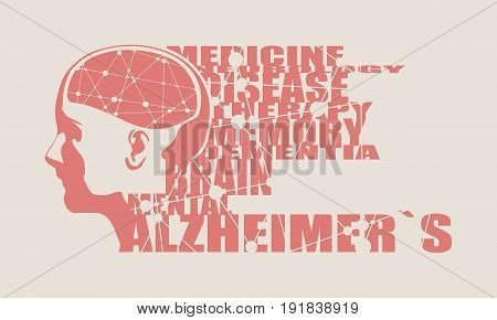 Abstract illustration of a human head with brain. Woman face silhouette. Medical theme creative concept. Connected lines with dots. Alzheimers disease tags cloud