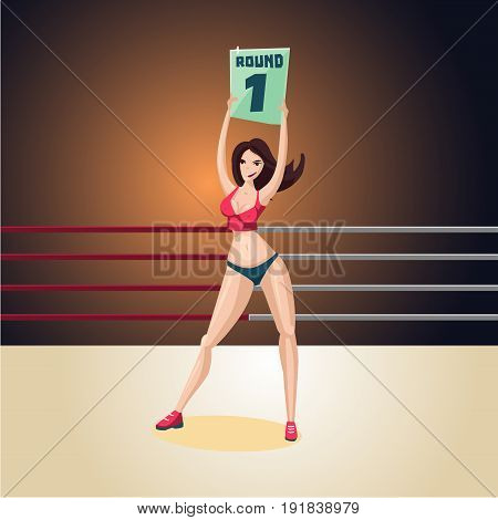 Box. SSport illustration. upport girl on a boxing ring. Cartoon character.