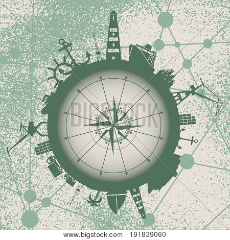 Circle with sea shipping and travel relative silhouettes. Vector illustration. Objects located around the circle. Industrial design background. Vintage compass. Grunge texture effect