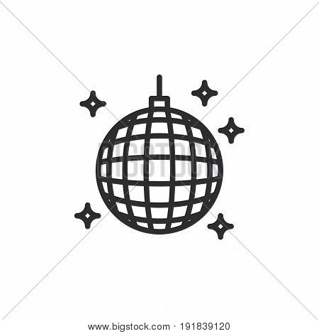 Disco ball line icon outline vector sign linear style pictogram isolated on white. Night club symbol logo illustration. Editable stroke. Pixel perfect