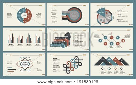 Infographic design set can be used for workflow layout, diagram, annual report, presentation, web design. Business and marketing concept with process, percentage, flow, bar and pie charts.