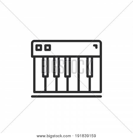Piano keys line icon outline vector sign linear style pictogram isolated on white. Synthesizer symbol logo illustration. Editable stroke. Pixel perfect