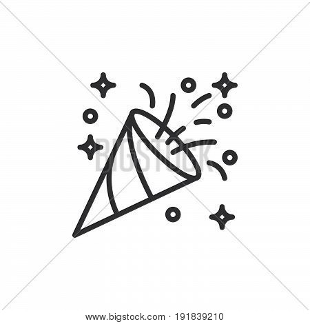 Confetti popper line icon outline vector sign linear style pictogram isolated on white. Symbol logo illustration. Editable stroke. Pixel perfect