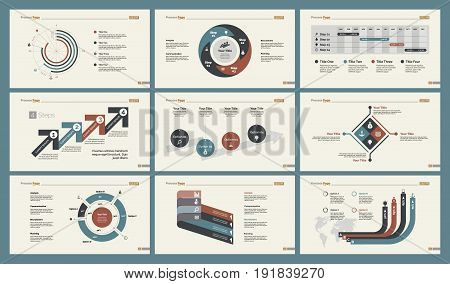 Infographic design set can be used for workflow layout, diagram, annual report, presentation, web design. Business and statistics concept with process, percentage, timing and doughnut charts.