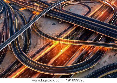 Extraordinary Thoroughfare Leading To Abu Dhabi. Dubai, United Arab Emirates.