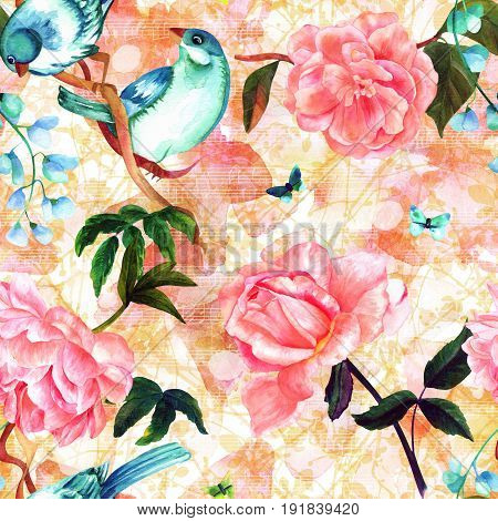 Seamless pattern with watercolor drawings of teal blue birds, pink roses, camellias, and peonies, and butterflies, hand painted on pastel background of abstract branches with faded sheet music