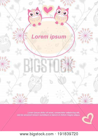 Background With Owl Flowers And Hearts Cute Drawn Vector. The Frame Is Round, Contoured, Transparent