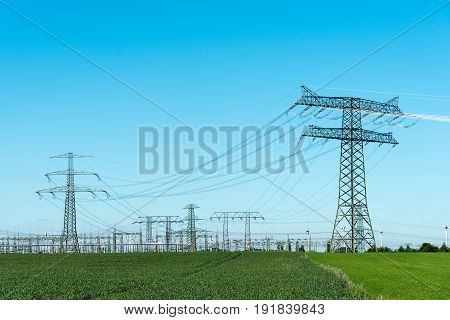 Relay station and transmission towers seen in Germany