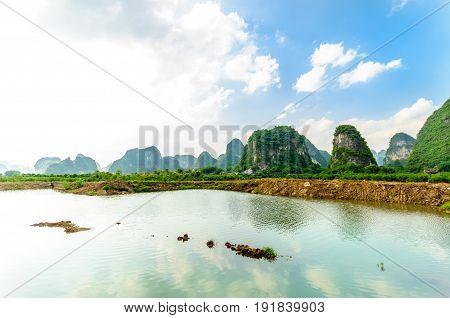 View on karst landscape by Li river in Yangshuo
