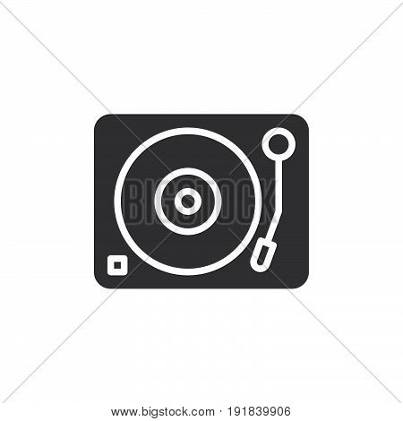 Turntable vinyl disc player icon vector filled flat sign solid pictogram isolated on white. DJ symbol logo illustration. Pixel perfect