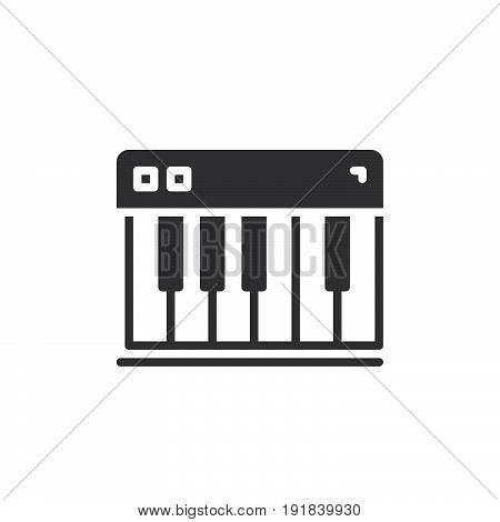 Piano keys icon vector filled flat sign solid pictogram isolated on white. Synthesizer symbol logo illustration. Pixel perfect