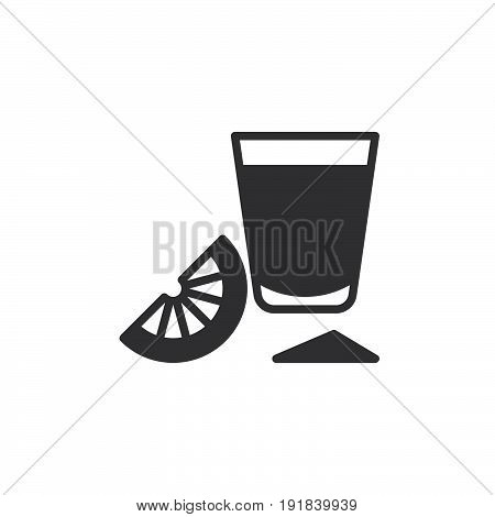 Tequila shot glass with lime slice icon vector filled flat sign solid pictogram isolated on white. Symbol logo illustration. Pixel perfect