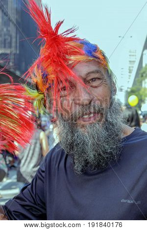 Old Man At Gay Pride Parade Sao Paulo