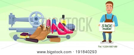 Shoemaker cartoon character banner or poster with cobbler tools set colorful vector illustration including carpenter repair instruments, shoe machines, boots, sewing machine, glue, threads, brushes