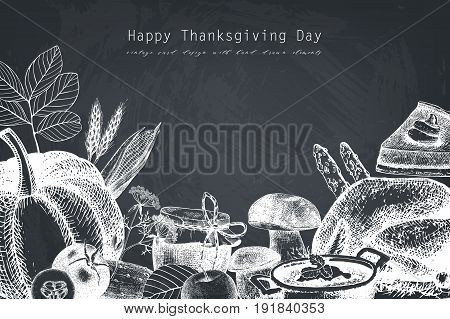 Vector card or invitation design with hand drawn autumn illustration. Traditional harvest festival. Thanksgiving Day background