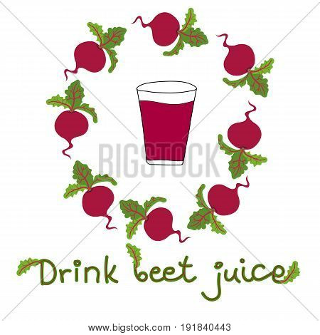 Vector hand drawn doodle illustration glass with beet juice vegetables arranged in composition lettering