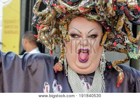 Sao Paulo, Brazil - June 18, 2017: An Unidentified Drag Queen Dr