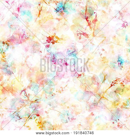 A seamless pattern with abstract ink drawings of intersecting tree branches with buds and leaves, with teal blue and pastel pink watercolor splashes