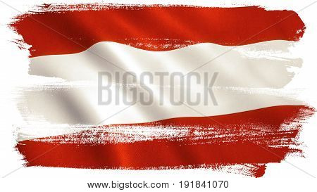 Austria flag background with fabric texture. 3D illustration