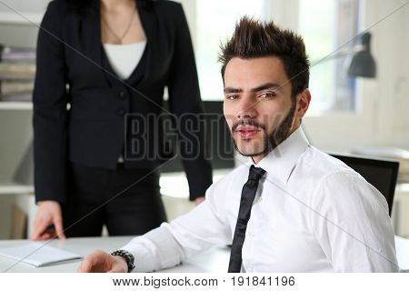 Handsome Smiling Businessman In Suit Portrait At Workplace