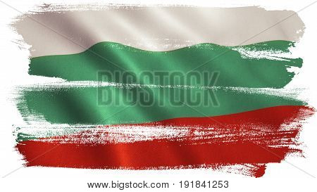 Bulgaria flag background with fabric texture. 3D illustration