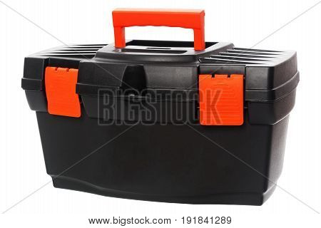 Black toolbox with red handle isolated on white background