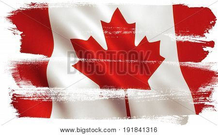 Canada flag background with cloth texture. 3D illustration