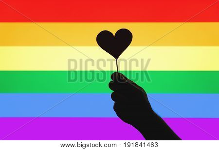 LGBT, gay pride, sexual minority, homosexuality and equal rights concept. Silhouette hand holding cardboard heart on a wooden stick against rainbow flag. Person showing little love symbol and sign.