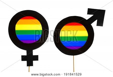 Gender symbols with LGBT and rainbow flag colors. Man and woman support equality. Gay pride, homosexuality, and sexual minority concept. Male and female cardboard signs on wooden sticks on white.