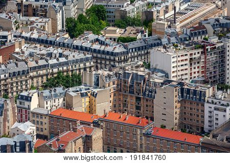 View from above on typical parisian residential buildings.