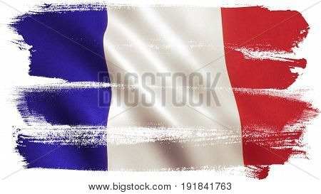 France flag background with fabric texture. 3D illustration