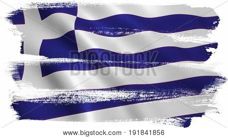 Greece flag background with fabric texture. 3D illustration