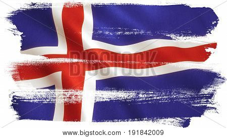 Iceland flag waving full frame background texture. 3D illustration