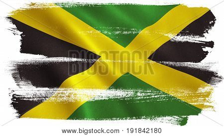 Jamaica flag background with fabric texture. 3D illustration.