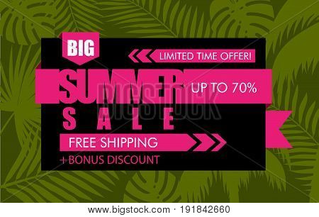 Summer sale banner with green tropical exotic palm leaves plant. Vector bright floral design pink ribbon text limited time offer free shipping bonus discount up to 70 percent on black background