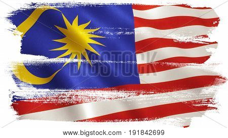 Malaysia flag background with fabric texture. 3D illustration