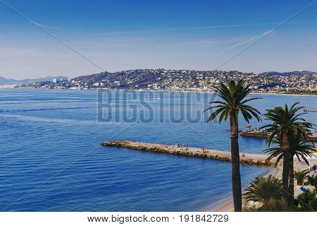 French Riviera Coastline, Blue Seaside And Palm Trees