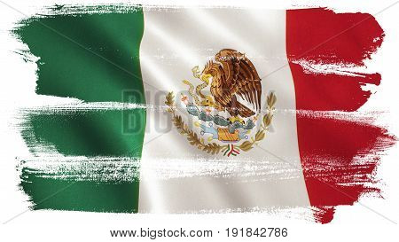 Mexico flag background with fabric texture. 3D illustration.