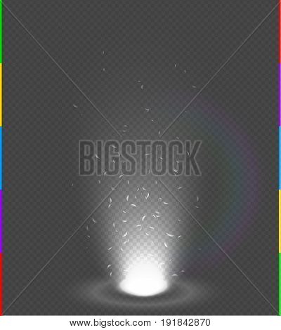 White glow rays night scene with sparks on transparent background rainbow. Empty light beam effect podium. Magic fantasy portal. Futuristic source energy splash explosion.