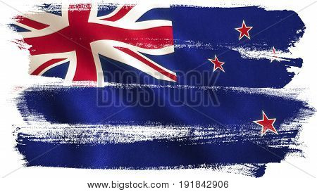 New Zealand flag background with fabric texture. 3D illustration