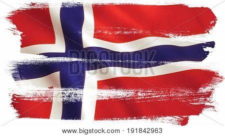Norway flag waving full frame background texture. 3D illustration