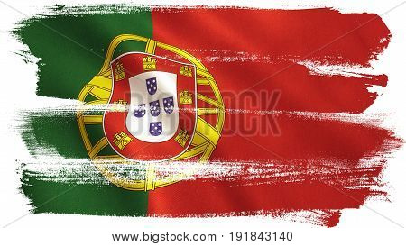 Portugal flag background with fabric texture. 3D illustration.