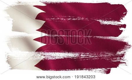 Qatar flag background with fabric texture. 3D illustration