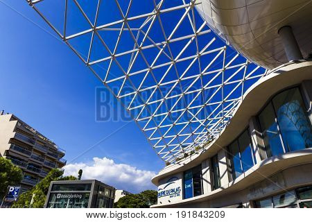 Detail Of The Recently Built Palais Des Congres Building In Antibes