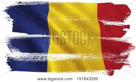 Romania flag with fabric texture. 3D illustration.
