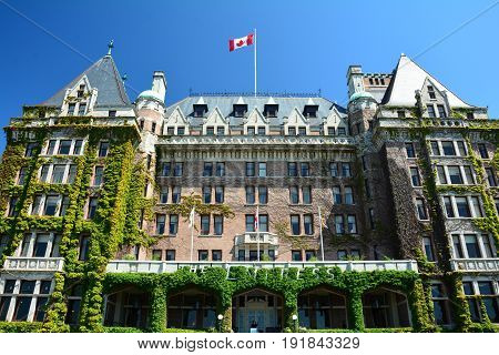 Victoria BC,Canada,May 29th 2015.The iconic Empress Hotel in Victoria BC.The awesome facade to the landmark Empress hotel.